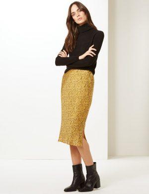 Animal Print Slip Midi Skirt